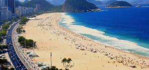 Una veduta della spiaggia di Rio De Janeiro